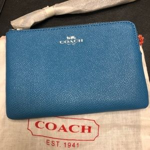 Coach Wristlet- Bright Blue Crossgrain Leather